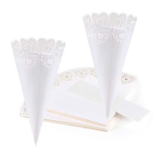 REYOK 50stk Kegel für Hochzeit Konfetti Reis Liebesstil Geburtstag Papier Kegel Taufe Konfetti Konus Tüten Deko Herzförmiges Weiß