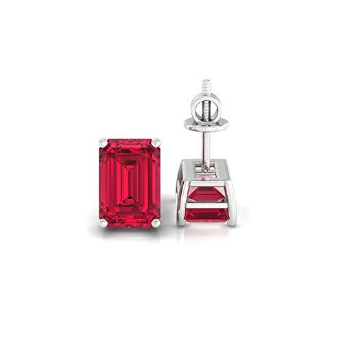 Diamondrensu 1.50 CTW Emerald Cut Lab Created Red Garnet Studs, Bridal Wedding Earrings, Screw Back Stud Earrings, Basket Setting, Engagement Earrings, 925 Silver