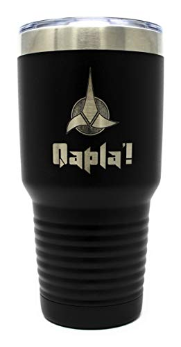Star Trek Klingon Qapla' Professionell lasergravierte 850 ml Edelstahl/Metall vakuumisoliert Kaffee/heiße und kalte Getränke Becher mit sicherem Kunststoffdeckel