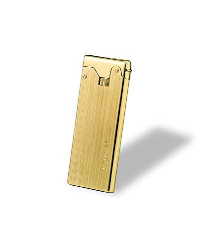 KOOWLUK - Encendedores recargables - Encendedor de metal - Moxibustion Moxa Mechero 3 Flint • Ultrafino y ligero • Hecho de cobre puro (Nota: gas no incluido) (oro)