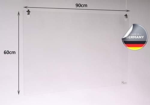 Queence | Hochwertiger Tröpfchenschutz aus Acrylglas zum Aufhängen | Hustenschutz für Empfangsbereich | Hängend | Niesschutz | für Deckenmontage, incl. Aufhängung, Größe:90x60 cm