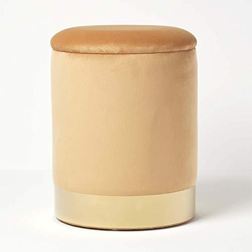 Homescapes runder Samt-Fußhocker Clarence, senfgelber Aufbewahrungshocker mit verstecktem Stauraum, Deko-Hocker mit Metallrand, 38 cm hoch, Ocker