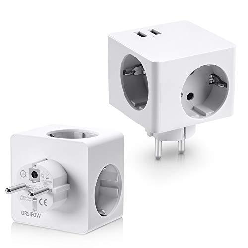 ORSIFOW USB Steckdose, 3 Steckdosen(3680W) mit 2 USB Anschluss (2.4A), 5-in-1 Steckdosenadapter mit USB Ladegerät, Würfel Steckdose Adapter für Haushaltsgerät, iPhone, Smartphone, Mp3 usw Weiß