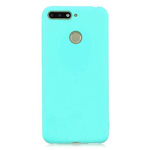cuzz Funda para Huawei Honor 7A / Y6 2018 / Enjoy 8E+{Protector de Pantalla de Vidrio Templado} Carcasa Silicona Suave Gel Rasguño y Resistente Teléfono Móvil Cover-Azul Claro