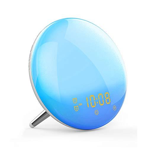 Cakunmik Inteligente Despertador luz Despertador Reloj portátil Digital Alarma Reloj de Noche Colorido Noche de Noche Soporte WiFi Amanecer/Atardecer simulación Snooze función FM Radio