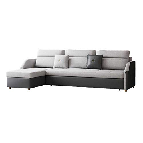 RJMOLU Convertible Sofa Couch Bed with Reversible Chaise, L Shaped Sofa Couch Sleeper with Storage for Small Apartment, Protable Lazy Corner Sofbed