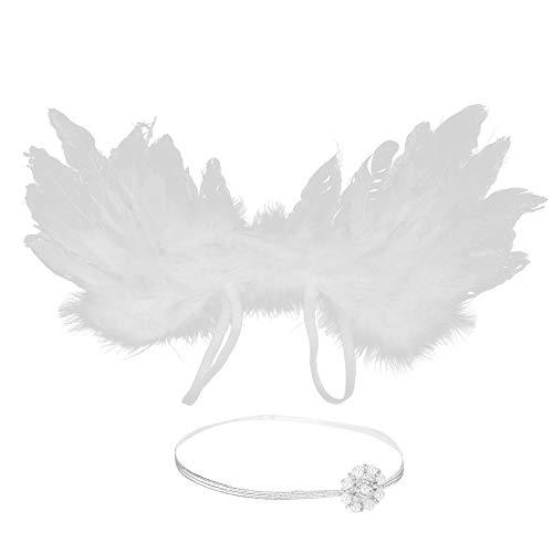 Neugeborenes Baby schöne Feder Engelsflügel mit Stirnband Bogen Neugeborenes Baby Mädchen Outfit Fotografie Requisiten (Weiß)