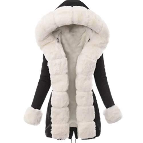 PPangUDing Wintermantel Jacke Damen Warme mit Kapuze Wasserdicht Windbreaker Langarm Mantel Winterparka mit Reißverschluss Übergangs Funktionsjacke Outdoorjacke Outwear Winterjacke