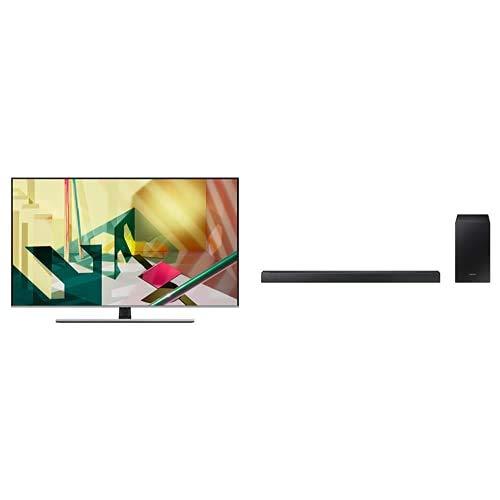 """Samsung QE55Q74TATXZT Serie Q74T QLED Smart TV 55"""", Ultra HD 4K, Wi-Fi, Silver, 2020, Esclusiva Amazon + HW-R430/ZF Soundbar da 170 W, 2.1 Canali, Nero"""
