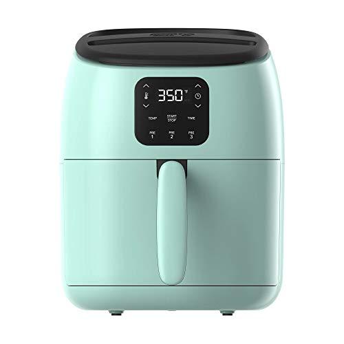 Dash Tasti-Crisp™ Digital Air Fryer with AirCrisp® Technology, Custom Presets, Temperature Control, and Auto Shut Off Feature, 2.6 Quart - Aqua