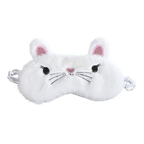 FENICAL Lindas Máscaras para Los Ojos Gato Esponjoso Gato Animal Lindo Máscara para Dormir para Mujeres Niñas Máscara Sombra para Ojos Máscara Divertida para Dormir (Blanco)
