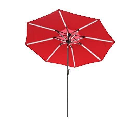 Aok Garden 9ft Patio Umbrella, Outdoor Solar LED Table Market Umbrella with Push Button Tilt/Crank 8 Ribs,Dark Brown Pole & Wine Red Cloth