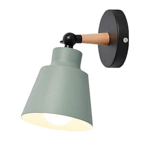 Monland Luces Nocturnas Modernas para Montaje en Pared LáMparas de Aplique de Madera Maciza IluminacióN LED Pantallas de LáMpara E27 para Dormitorio Hogar HabitacióN Interior, Verde