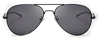 LUKEEXIN Men's Sunglasses New Leopard Head Coating Polarized Sunglasses (Color : Black Frame Black Glass Lens)