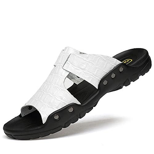 Sandalias deportivas para hombre, sandalias de piel de vacuno, refuerzo de remache, plantilla antideslizante, suela de poliuretano, color Blanco, talla 39 EU
