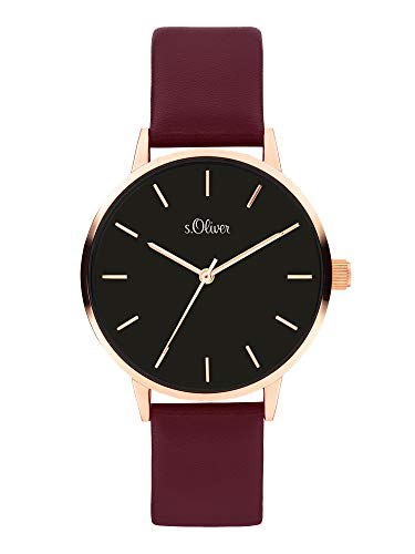 s.Oliver Damen Analog Quarz Uhr mit Kunstleder Armband SO-3937-LQ