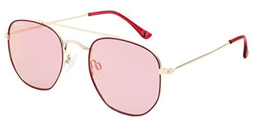 Dakota - Gafas de sol unisex, color dorado polarizado con lente rosa (pdak08)