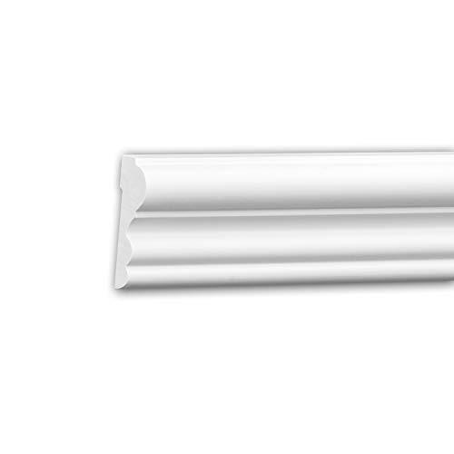 Moldura para pared 651400 Profhome Perfil de estuco Moldura decorativa Moldura friso diseño atemporal clásico blanco 2 m
