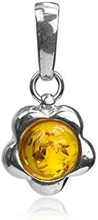 Noda pendentif rond et fleur en ambre miel et argent 925