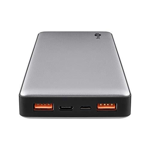 Goobay 59819 Powerbank 15000mAh mit Quickcharge QC 3.0 externer Akku 2x USB plus USB-C slim Design im Aluminium Gehäuse