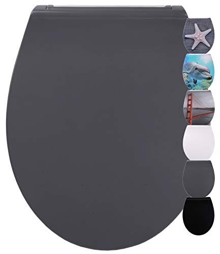 WC Sitz mit Absenkautomatik aus Duroplast, faszinierendes Design, abnehmbar, einfache Montage von oben (Flat Grau)