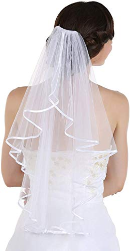 YuNuo Women's 2 Layers Short Bridal Veil Wedding With Comb (Ivory)