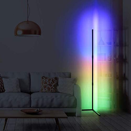 Kaigelu888 Lámpara de Pie RGB Regulable 20W con Control Remoto , Negro,130CMx60CM Lámpara de Suelo Luz, RGB Lámpara Moderna LED para Salón, Dormitorio, Oficina Decoración,Biblioteca