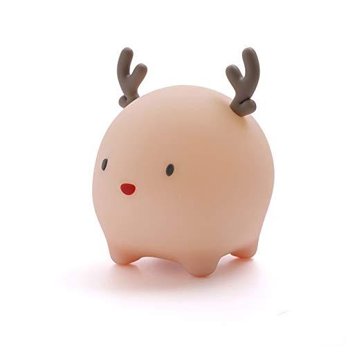 WTAW Meng Ciervos con lámpara de Temporizador de sueño USB Cargando de la Cama de la Cama Inteligente de la Cama de la Cama del Ojo de la Historieta LED de la Noche de la Pink