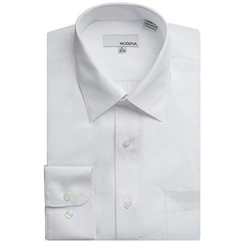Modena Men's Long Sleeve Dress Shirt - All Sizes (Including Big & Tall) (19 34/35, White)