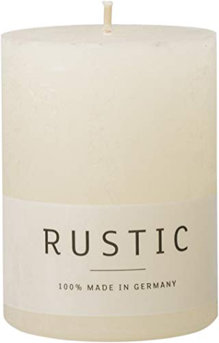 safe candle Rustic Kerze selbstverlöschend, 4 Stück, Höhe 8 cm/Ø 6 cm, 25 Std. Brenndauer (Wollweiß)