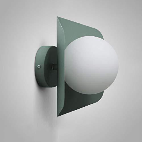 Hai Ying * IJzeren glazen wandlamp antieke wandlamp voor buitenverlichting wandlamp met glas in de stijl naar boven E27 240V verlichting tuinhof buiten hoog: 32 cm (kleur: melkgroen)