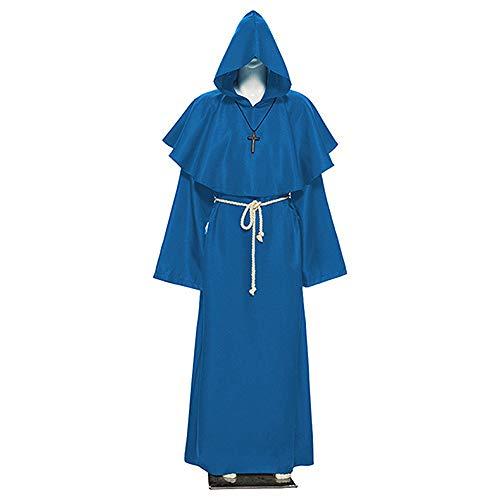 GQJQWE Disfraz de Monje Medieval de Halloween Paquete de Escenario Ordinario para Adultos Neutro Traje de hechicero del Festival de Fantasmas Opcional