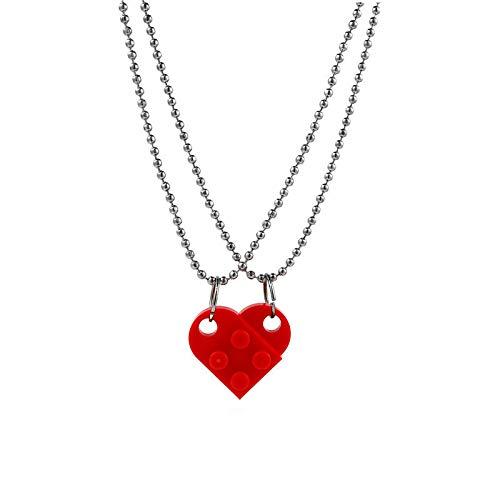 YioKpro 2 Pcs Cute Lego Heart Pendant Necklace Heart Building Blocks Necklace for Couples Friendship Women Men Girl Boy Jewelry Gift