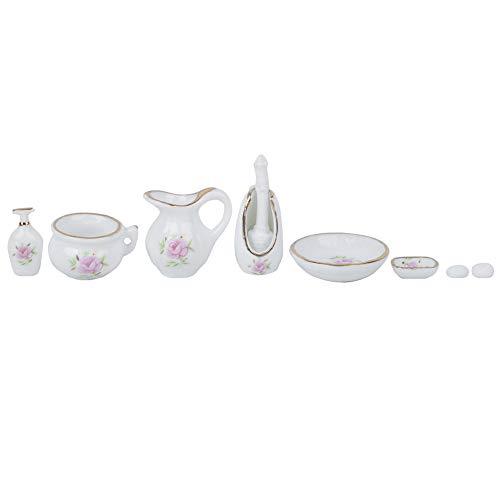 Zerodis 1:12 Modelo de Porcelana de baño de simulación, 8 Piezas Mini componente de Muebles de casa de muñecas Accesorios de decoración de casa de muñecas en Miniatura Decoración Juguetes Regalo(#1)