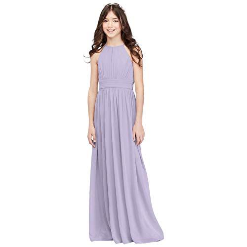 Chiffon High-Neck Pleated Junior Bridesmaid Dress Style JB9890, Iris, 12