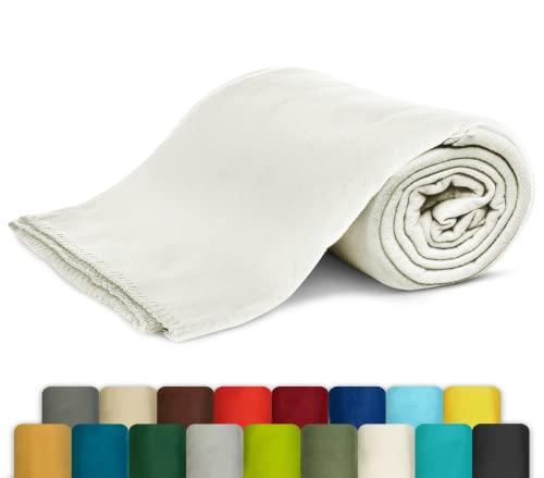 KiGATEX Polar-Fleecedecke - Leicht zu pflegene Decke für Innen und Außen - Tagesdecke, Sommerdecke, Sofadecke, Kuscheldecke aus Fleece - 130 x 160 cm - Ecru