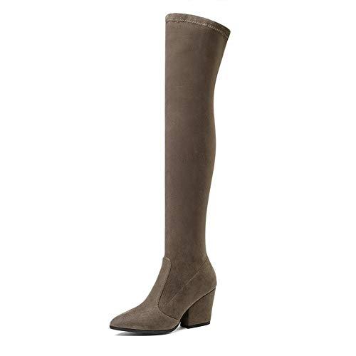 Frauen Overknee High Boots Hoof Heels Winterschuhe Spitz Sexy Elastic Fabric Frauen Stiefel Größe (Color : Khaki, Size : 11)