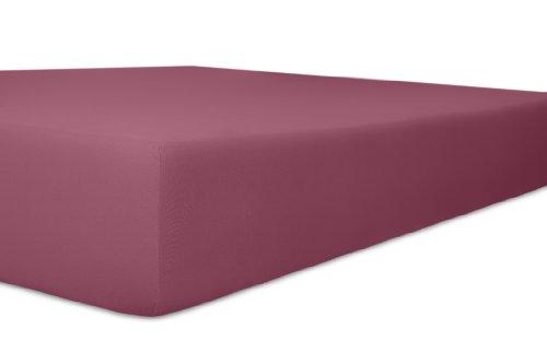 Kneer 2501427 Easy-Stretch Spannbetttuch Qualität 25, Größe 140/200-160/220 cm, brombeer