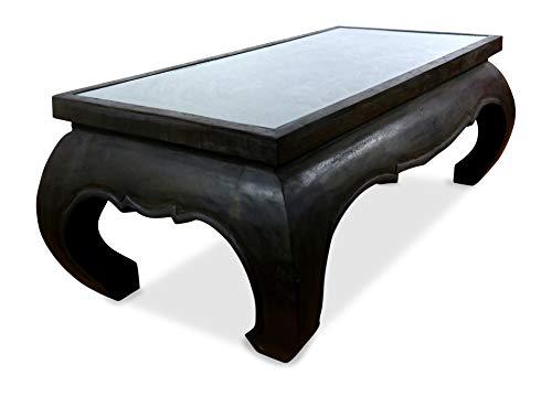 livasia Großer Opiumtisch mit Glasplatte, Couchtisch aus Massivholz, Sofatisch mit Elefantenschnitzerei
