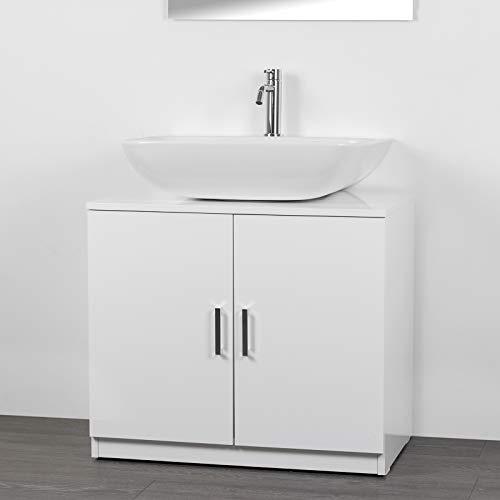 IdeaStella Odessa Sottocolonna 2 Ante. Mobile Bagno sotto lavabo Copri Colonna lavandino Universale (Bianco Effetto Lucido)