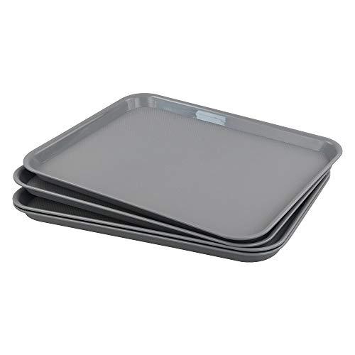 Gloreen - Vassoio da portata antiscivolo, per ristoranti fast food, per caffè/stoviglie, set da 4 (rettangolare, grigio)