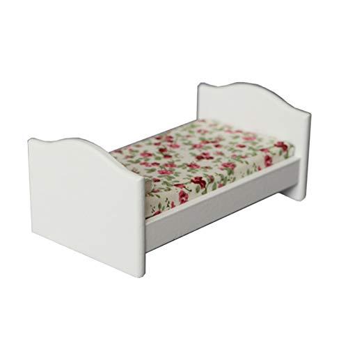 Yiifunglong Casa de muñecas simulación miniatura niños cama dormitorio muebles modelo 1/12 casa de muñecas accesorio - blanco