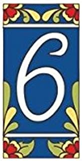 blue ceramic house numbers