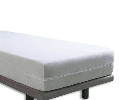 Tural – Funda de colchón elástica con Cremallera. Rizo 100% Algodón. Talla 150x190/200cm ⭐