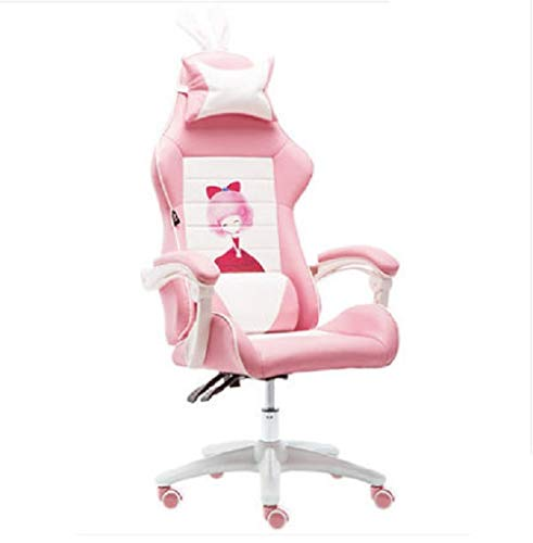 Gaming-Stuhl Racing Office, Schöner Mädchenstuhl Ankerstuhl Rosa Stuhl Computerstuhl Bequemer Stuhl Spielstuhl Videospielstuhl Live StuhlB Kein Fußschemel