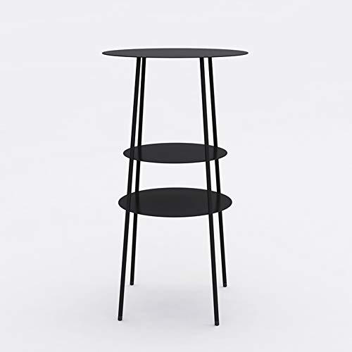 ZZHF La table de nuit Table d'appoint, salon en métal Table basse d'appoint en métal, petite table ronde en métal à 3 couches, armoire de table de chevet en fer, étagère pour balcon, support de fleur,