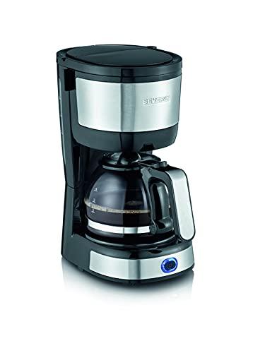 Severin KA 4808 - Cafetera de filtro compacta (4 tazas, 750 W, indicador del nivel de agua) acero inoxidable cepillado, negro