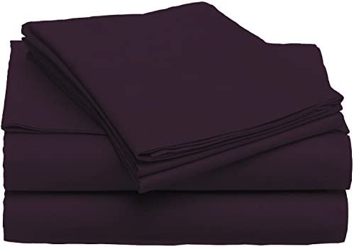 4-Piece Set Ultra Soft 1800 Series Bamboo Bed Sheets – Queen – Eggplant
