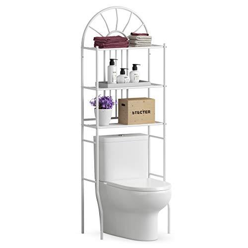 COSTWAY 59x37x173cm Waschmaschinenregal mit 3 Ablagen Toilettenregal Badregal Badezimmerregal Bad WC Regal aus Metall in weiß