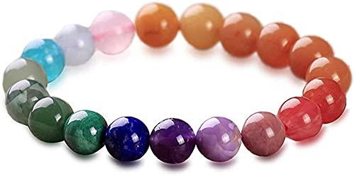 Cristal de cuarzo rosa 10 mm hombres y mujeres 7 chakra pulsera natural semi precioso piedras preciosas pulsera de cuentas coloridas piedras de energía cristalal cicatriz equilibrio joyería de moda am